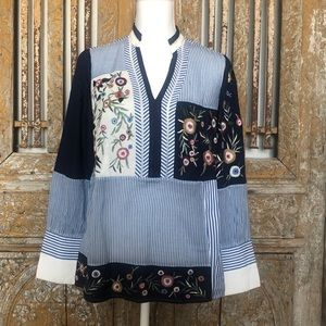 CHICO'S NOVELTY PATCHWORK EMBROIDERY TOP S